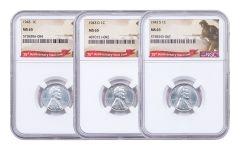 1943-PDS 1 Cent Lincoln Steel NGC MS65 Set