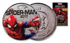 2017 Fiji 50 Cent Silver Plated Clad Spider Man Light Up Specimen - Marvel Series