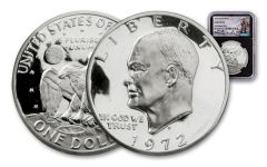 1972-S Eisenhower Dollar NGC Gem Proof Charlie Duke Signed - Black