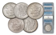 1884-1888-P Morgan Silver Dollar NGC/PCGS MS63 5pc