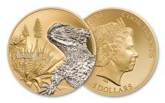 2018 Cook Islands $5 Shades of Nature Sungazer Lizard 25 Grams Gilt Silver Gem Proof
