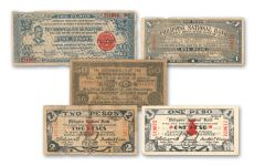 1941-1944 Philippines Emergency Guerilla Currency 10-Note Set F/VF