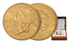 1857-S $20 Gold Liberty SS Central America PCGS MS61