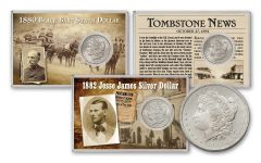"1880-1882-S $1 Silver Morgan 3 Piece Set Wild West ""Outlaw"""