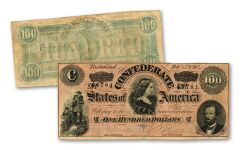 1864 $100 Confederate Lucy Pickens Note Fine