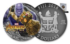 2018 Fiji $2 2-oz Silver Thanos Avengers Infinity War Antiqued BU