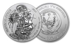 2018 Rwanda Nautical Ounce 250th Anniversary of HMS Endeavour 1-oz Silver Gem BU