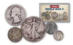 1943 1 Cent – 50 Cents World War II 5-Piece Set VG
