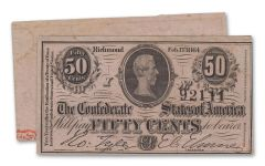 1863 50 Cent Confederate Currency Note Fine