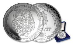 2018 Tokelau $5 1-oz Silver Wisdom of Owls: Scops Owl Proof
