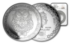 2018 Tokelau $5 1-oz Silver Wisdom of Owls: Scops Owl NGC PF70UC