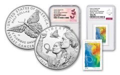 2018-S 50 Cent Clad Breast Cancer Awareness Coin and Stamp Set NGC PF70UC/Gem 100