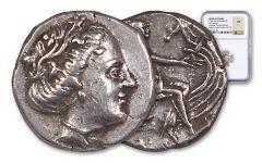 Ancient 300-200 BC Nymphs of Athens Silver Tetrobols of Euboea NGC XF