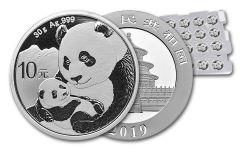 2019 China 30 Gram Silver Panda BU - Uncut Sheet of 15