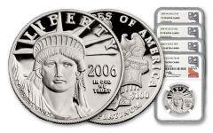 4PC 2006-W $10-$100 PLATINUM EAGLE NGC PF70 MERC