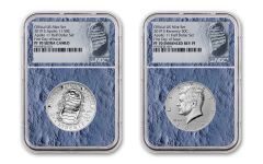 2019-S Apollo 11 50th Anniversary Half Dollar & Kennedy Half Dollar 2-Piece Set NGC PF70 First Day of Issue - Moon Core with Mission Patch