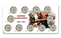 1942–1945 War Nickel Complete 11-Piece Collection BU