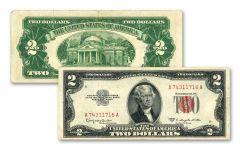 1953-A, B ,C , Plain $2 Red Seal 4-Piece Legal Tender Set VF