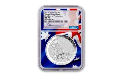 2019 Australia $1 1-oz Silver Wedge Tailed Eagle NGC MS70 First Day of Production w/Flag Core & Mercanti Signature