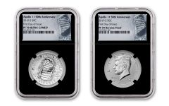 2019-S Apollo 11 50th Anniversary Half Dollar & Kennedy Half Dollar 2-Piece Set NGC PF70 First Day of Issue - Black Core, Astronaut Footprint Label