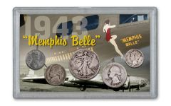 1943 WWII Memphis Belle 5-Coin Set w/Bonus Ration Token & German 1 Reichspfennig