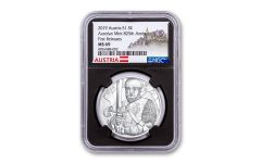 2019 Austria 1-oz Silver Leopold V 825th Anniversary of Vienna Mint NGC MS69 First Releases - Black Core