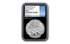 2019-W $1 1-oz Burnished Silver American Eagle NGC MS69 First Day of Issue - Black Core