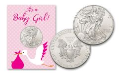 2019 1 Dollar 1-oz American Silver Eagle BU Baby Girl Card