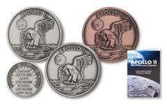 1969–2019 Apollo 11 Robbins Medal Commemorative 3-pc Set Antiqued
