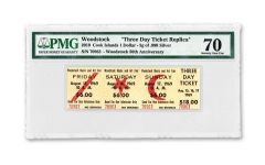 2019 Cook Islands $1 Silver Woodstock 1969 Ticket PMG GEM Uncirculated 70