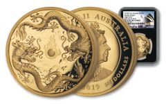 2019 Australia $200 2-oz Gold Double Dragon High Relief Proof NGC PF70UC First Day of Issue - Black Core, Opera House Label