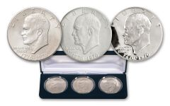 1976 Bicentennial Eisenhower Dollar 3-pc Mint Mark Collection