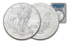 "2014-(S) $1 1-oz Silver Eagle ""Struck At"" San Francisco PCGS MS70"