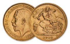 1914 Great Britain Gold Half Sovereign Uncirculated