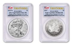 2019 United States & Canada 1-oz Silver Eagle & Maple Leaf Pride of Two Nations PCGS PR70 2-Coin Set First Strikes w/Flag Labels
