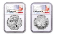 2019 United States & Canada 1-oz Silver Eagle & Maple Leaf Pride of Two Nations NGC PF70 2-Coin Set Early Releases w/P2N Labels