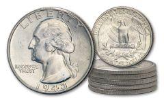 1943-P Silver Washington Quarters 5-Coin Roll BU