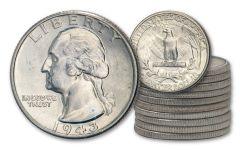 1943-P Silver Washington Quarters 10-Coin Roll BU