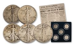 1941–1945 Silver Walking Liberty Half Dollar 5-Coin Set
