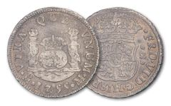1734–1771 Spain Silver Two Reales Pillar Fine