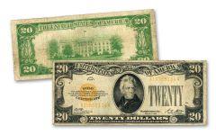 1928 $20 Gold Certificate Note Fine