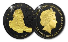 2019 Solomon Islands $1 Ancient Egypt Sphinx Coin w/Black Nickel & Gold Plating Proof-Like