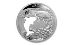 2020 Barbados $5 1-oz Silver Shapes of America Orca High Relief Proof-Like