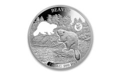 2020 Barbados $5 1-oz Silver Shapes of America Beaver High Relief Proof-Like