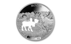 2020 Barbados $5 1-oz Silver Shapes of America Moose High Relief Proof-Like