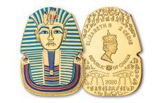 2020 Ghana 1-oz CuNi Legacy of Egypt Tutankhamun Gilded Ultra High Relief Coin