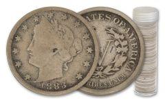 1883–1912 Liberty Head Nickel G-F 40-Coin Roll w/Tube