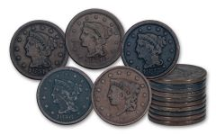 1836–1857 Large Cents 10-Coin Set VG