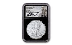 2020 $1 1-oz Silver Eagle NGC MS70 First Releases w/Black Core & Charlie Duke Signature
