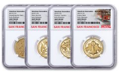 2019-S $1 American Innovation 4-pc Proof Set NGC Gem Proof Early Releases w/ Cable Car Label